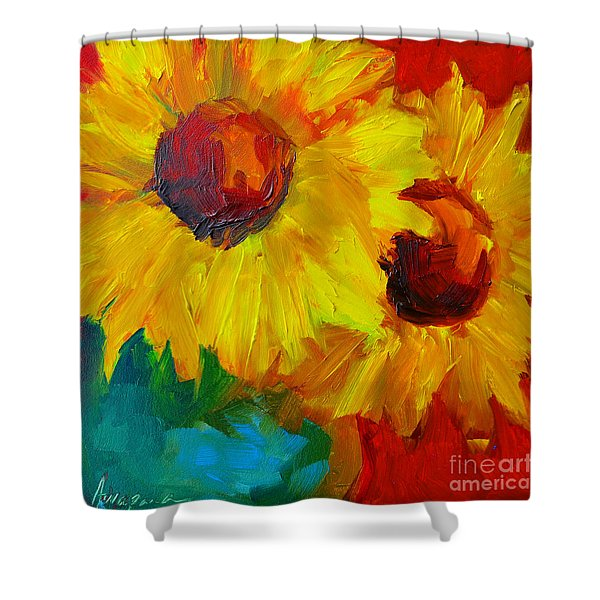 Sunflowers Girasoles Still Life Shower Curtain by Patricia Awapara