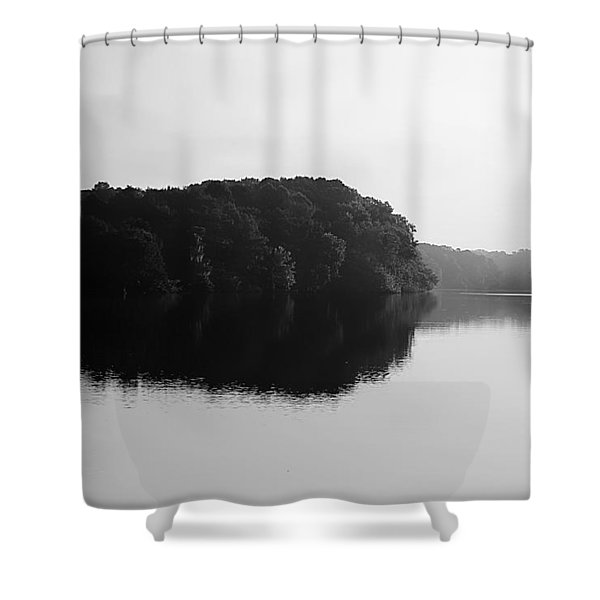 Sunrise Along The River Shower Curtain by Debra Forand