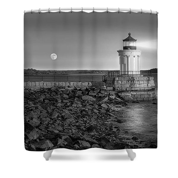 Sunrise at Bug Light BW Shower Curtain by Susan Candelario