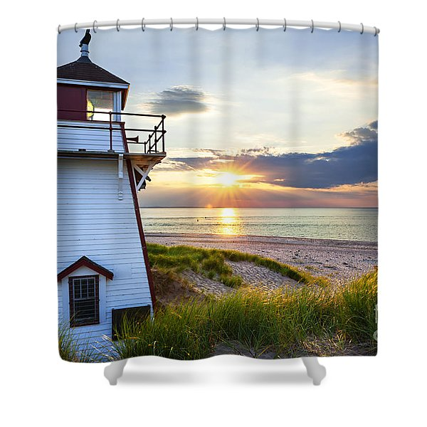 Sunset at Covehead Harbour Lighthouse Shower Curtain by Elena Elisseeva