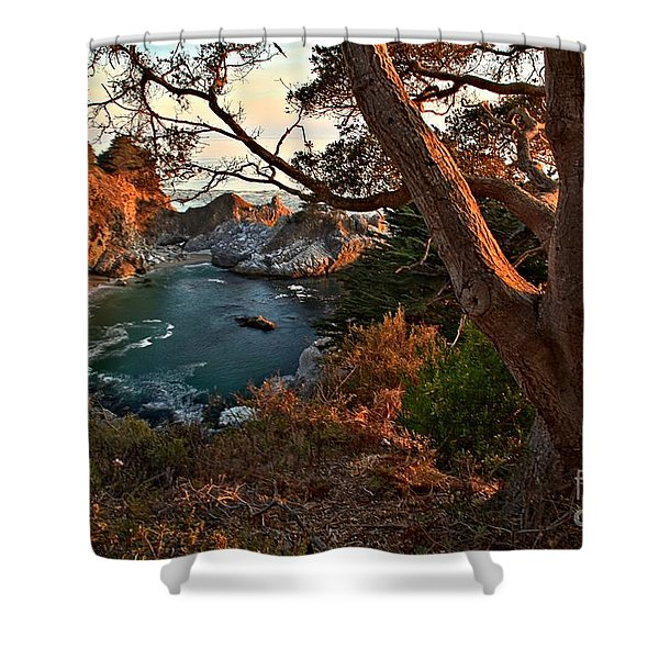 Sunset At McWay Falls Shower Curtain by Adam Jewell