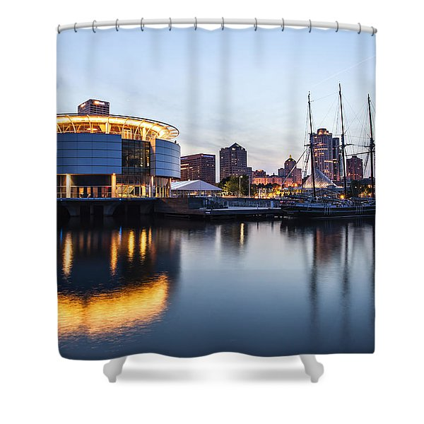 Sunset at the Dock Shower Curtain by CJ Schmit