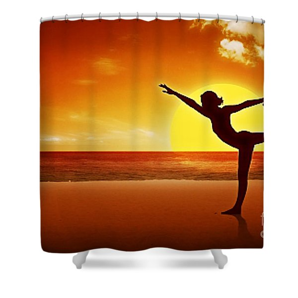 Sunset Beach Yoga Shower Curtain by M and L Creations
