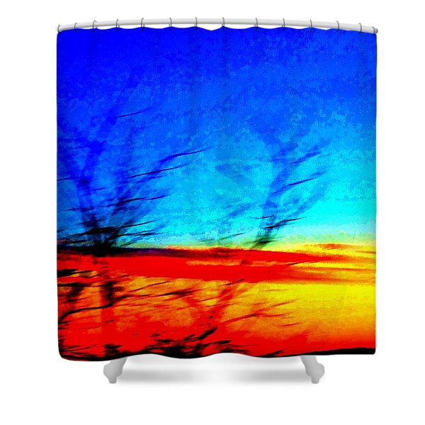 sunset in Oslo Shower Curtain by Hilde Widerberg