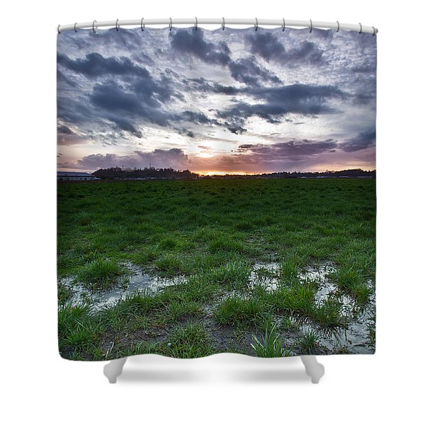 Sunset in the swamp Shower Curtain by Eti Reid