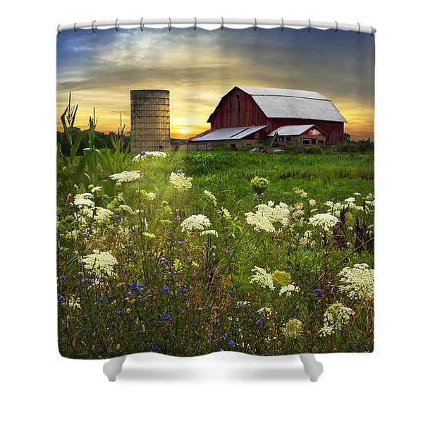 Sunset Lace Pastures Shower Curtain by Debra and Dave Vanderlaan