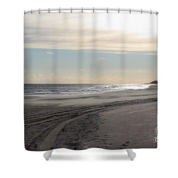 Sunset over Atlantic Ocean in Montauk Shower Curtain by JOHN TELFER