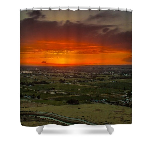 Sunset Over The Valley Shower Curtain by Robert Bales