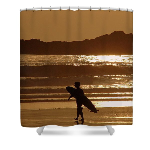 Sunset Surfer Shower Curtain by Ramona Johnston