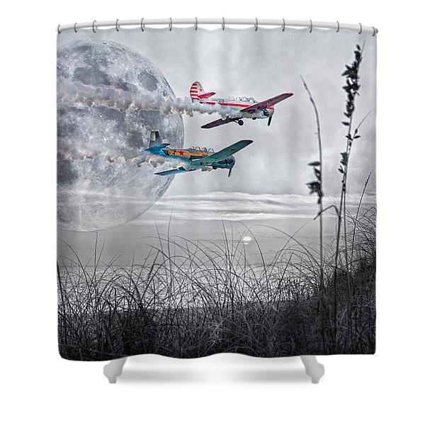 Super Moon Flight Shower Curtain by Betsy C  Knapp
