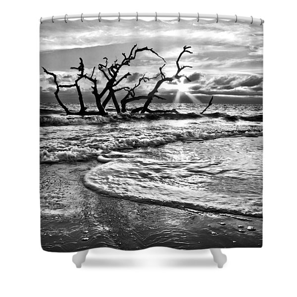 Surf at Driftwood Beach Shower Curtain by Debra and Dave Vanderlaan