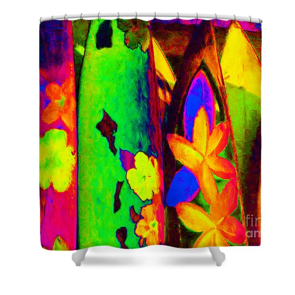 Surf Boards v2 Shower Curtain by Wingsdomain Art and Photography