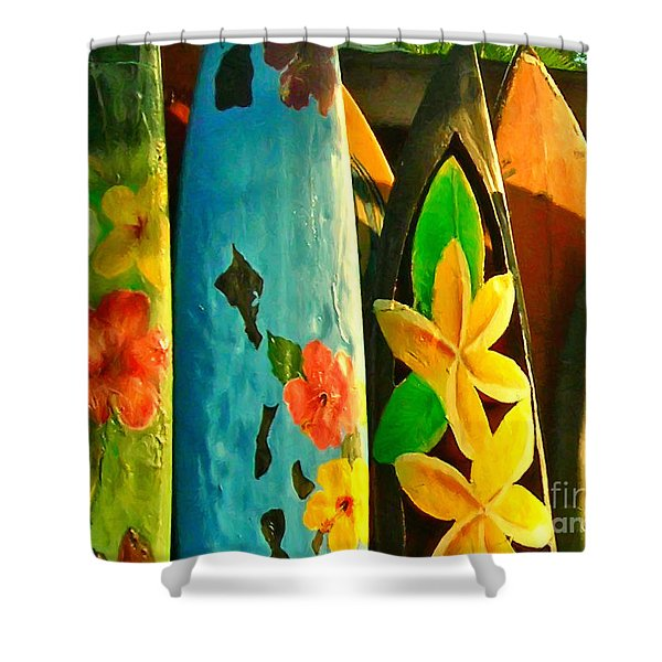 Surf Boards Shower Curtain by Wingsdomain Art and Photography