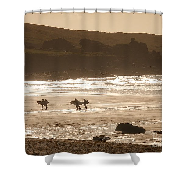 Surfers On Beach 02 Shower Curtain by Pixel Chimp