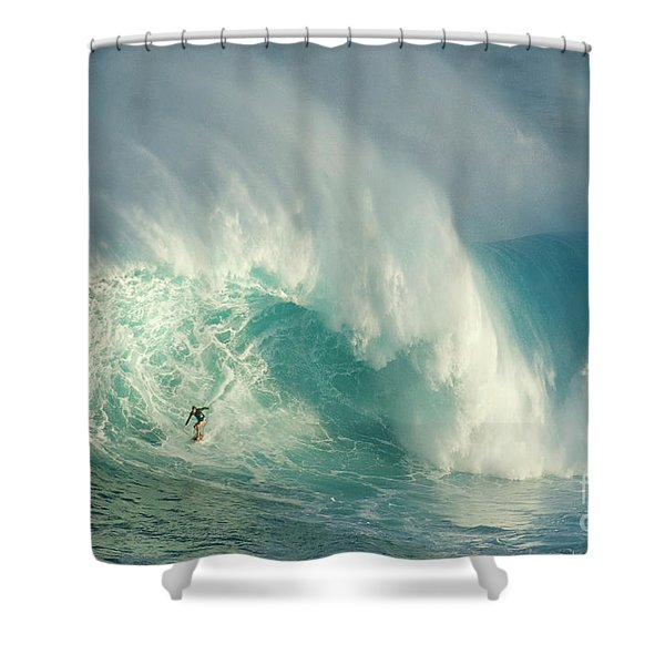 Surfing Jaws 3 Shower Curtain by Bob Christopher