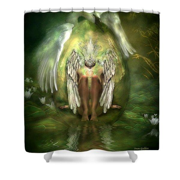 Swan Goddess Shower Curtain by Carol Cavalaris