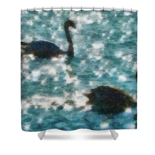 Swan Lake Shower Curtain by Ayse Deniz