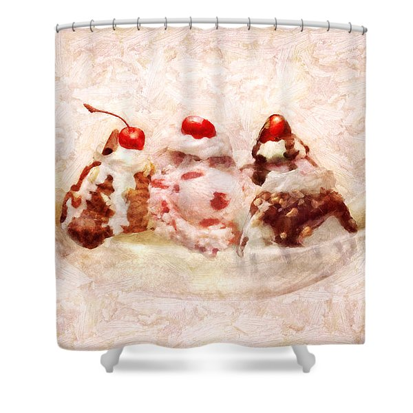 Sweet - Ice Cream - Banana split Shower Curtain by Mike Savad
