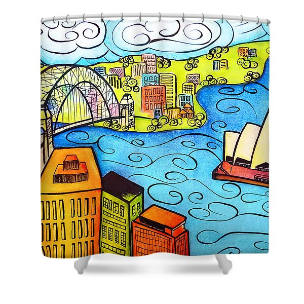 Sydney Harbour Shower Curtain by Oiyee  At Oystudio