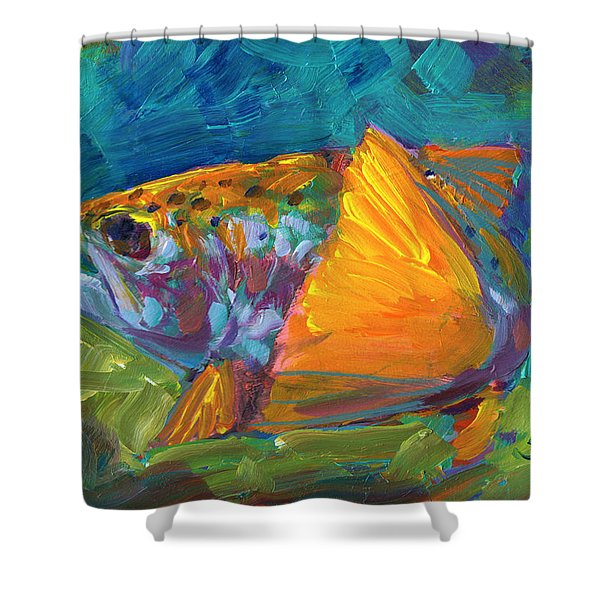 Tail View Trout Shower Curtain by Mike Savlen