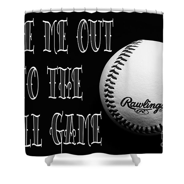 Take Me Out To The Ball Game - Baseball Season - Sports - B W 2 Shower Curtain by Andee Design