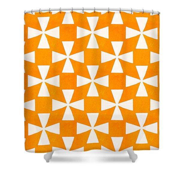 Tangerine Twirl Shower Curtain by Linda Woods