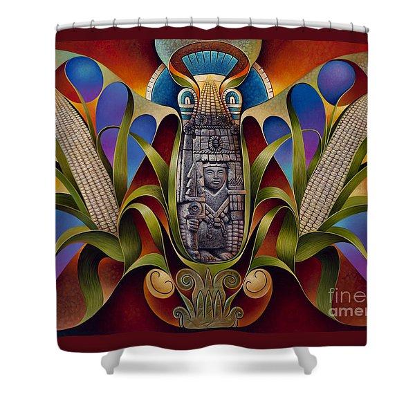 Tapestry Of Gods - Chicomecoatl Shower Curtain by Ricardo Chavez-Mendez