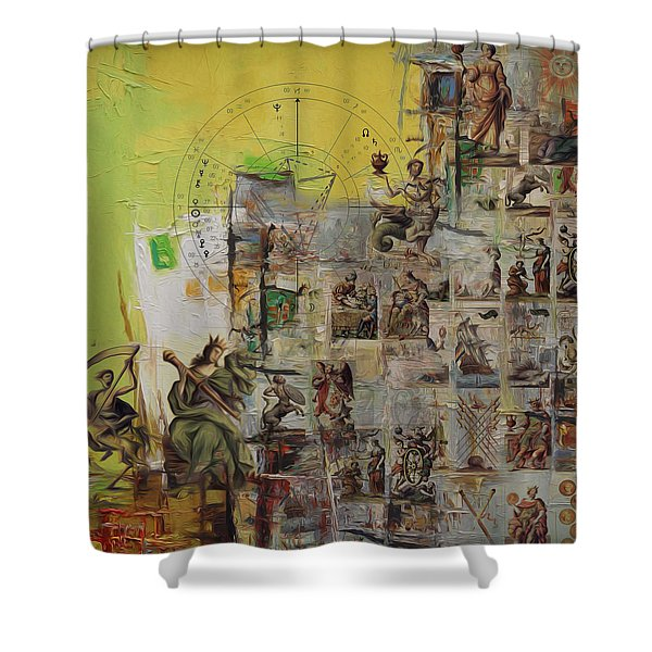 Tarot Card Set Shower Curtain by Corporate Art Task Force