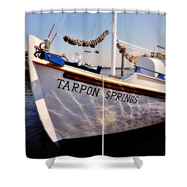 Tarpon Springs Spongeboat Shower Curtain by Benjamin Yeager