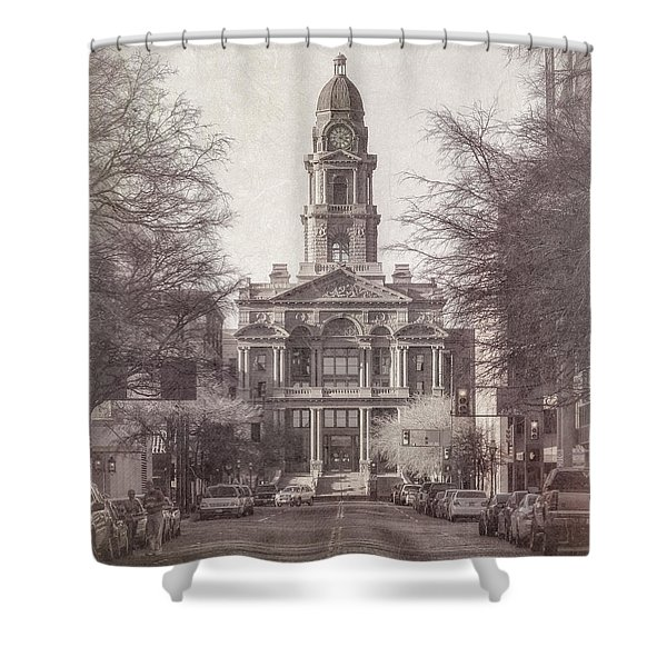 Tarrant County Courthouse Shower Curtain by Joan Carroll
