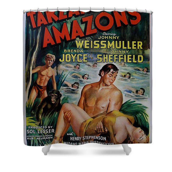 Tarzan and the Amazons Shower Curtain by Nomad Art And  Design
