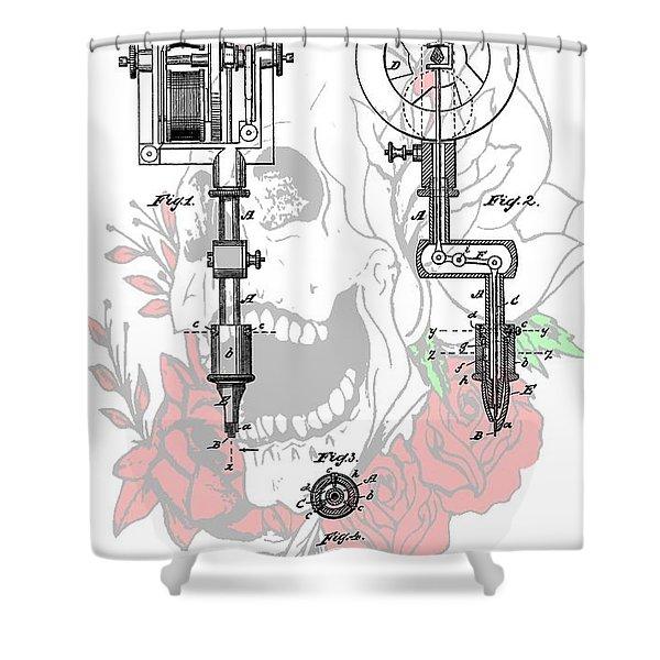 Tattoo Machine Patent Shower Curtain by Dan Sproul