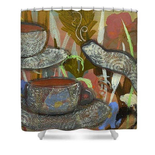 Tea For Three Shower Curtain by Robin Maria  Pedrero