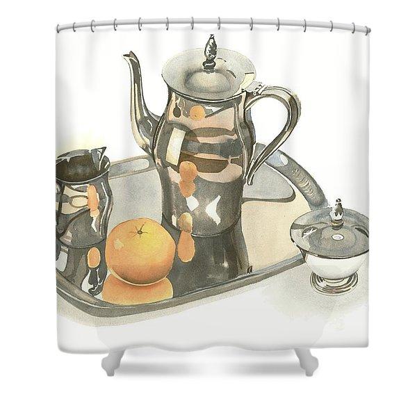 Tea Service with Orange Shower Curtain by Kip DeVore