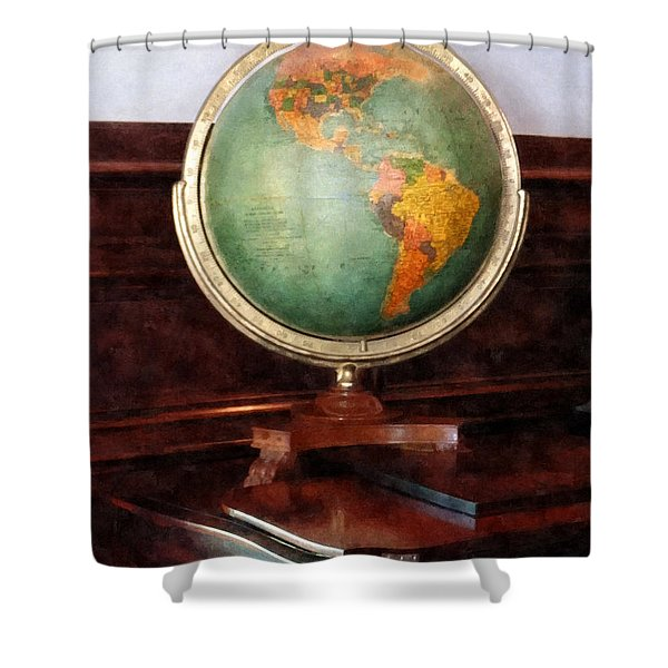 Teacher - Globe on Piano Shower Curtain by Susan Savad