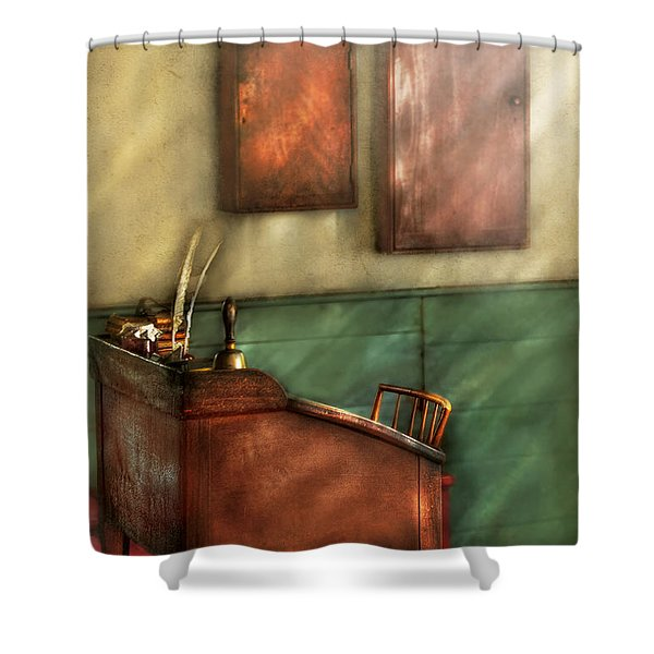 Teacher - The Teachers Desk Shower Curtain by Mike Savad