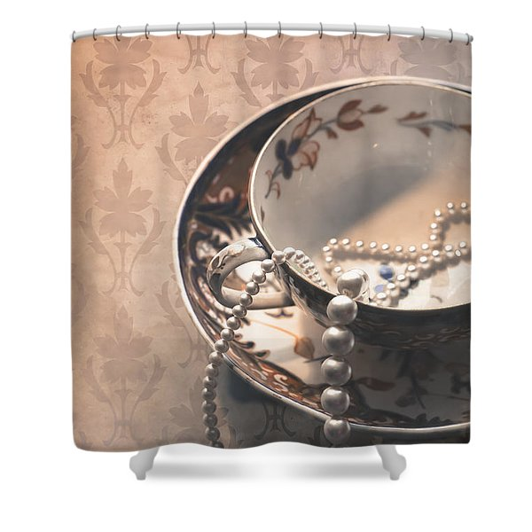 Teacup and Pearls Shower Curtain by Jan Bickerton