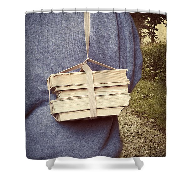 Teen Boy's Back With Books Shower Curtain by Edward Fielding