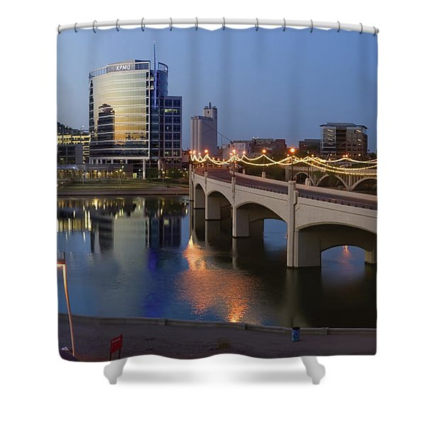 Tempe Town Lake Pano Shower Curtain by Dave Dilli