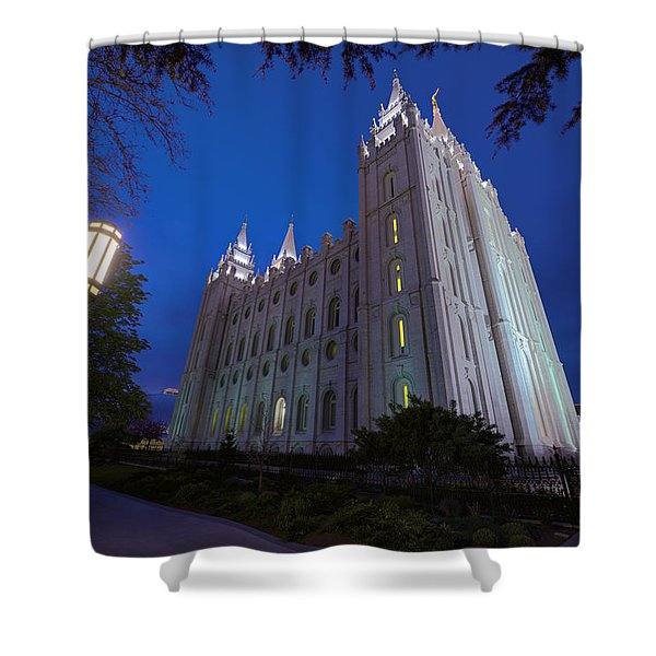 Temple Perspective Shower Curtain by Chad Dutson