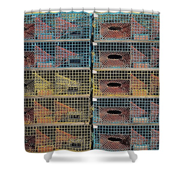 Ten Lobster Traps Shower Curtain by Stuart Litoff