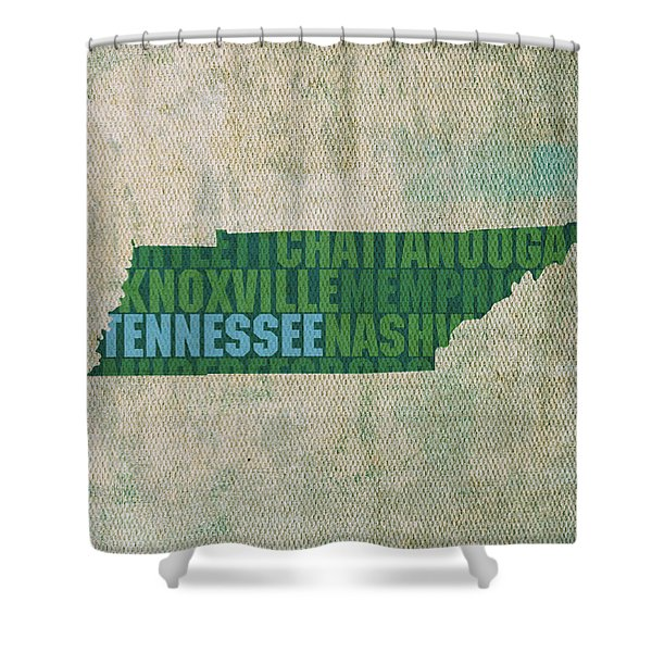 Tennessee Word Art State Map on Canvas Shower Curtain by Design Turnpike