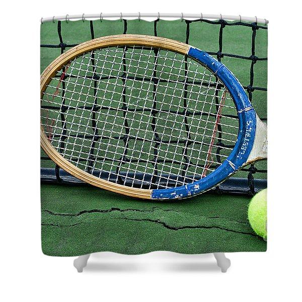 Tennis - Vintage Tennis Racquet Shower Curtain by Paul Ward