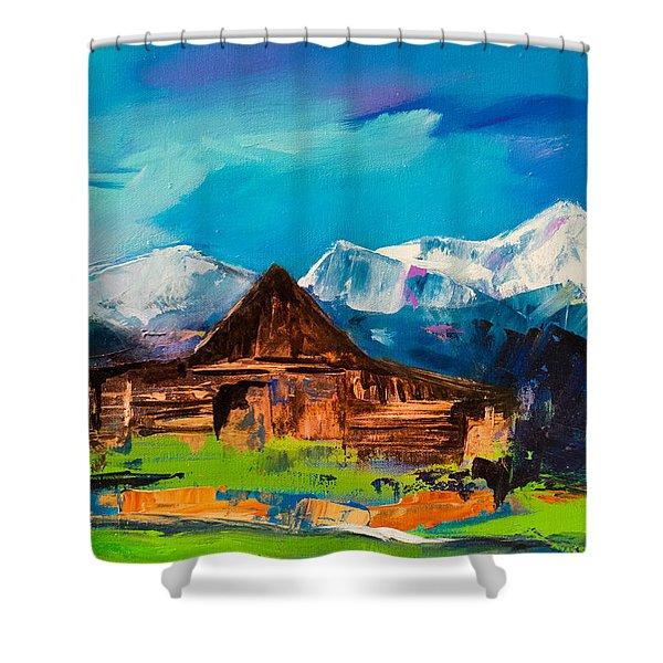Teton Barn  Shower Curtain by Elise Palmigiani