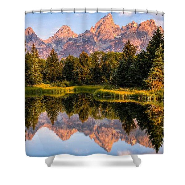 Teton Sunrise Shower Curtain by Chris Austin