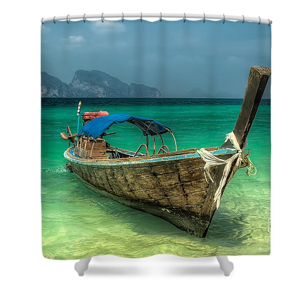 Thai Boat Shower Curtain by Adrian Evans