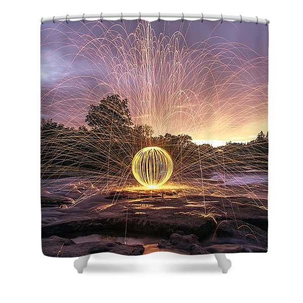 The American River Orb Shower Curtain by Lee Harland