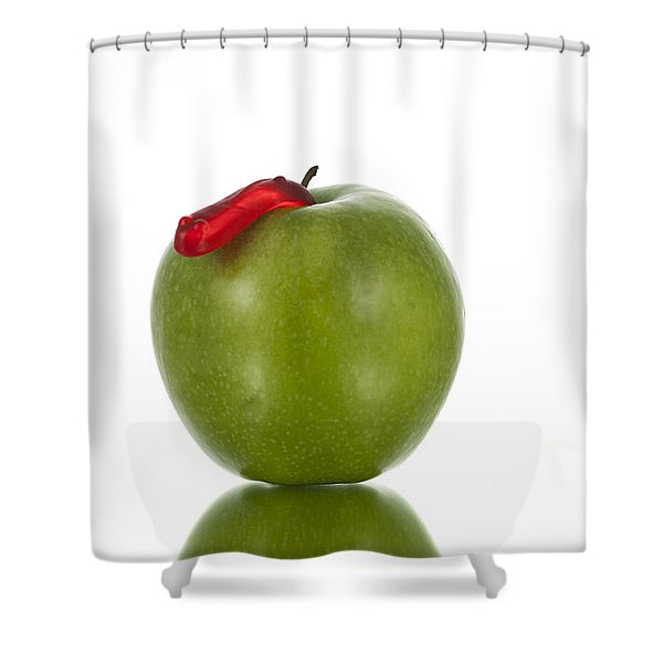 The Apple and the Worm Shower Curtain by Juli Scalzi