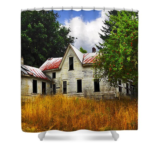 The Apple Tree on the HIll Shower Curtain by Debra and Dave Vanderlaan