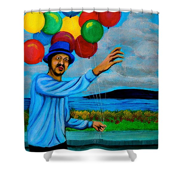 The Balloon Vendor Shower Curtain by Cyril Maza